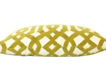 Chartuese Velvet Imperial Trellis Fretwork Lumbar Pillow Cover- Both Sides