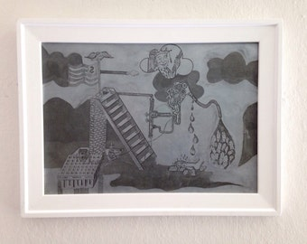 """Vintage Etching Plate """"The Education Machine"""" by Jackie Hahn"""