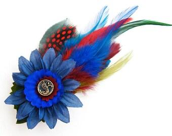 Blue flower feather fascinator graduation prom bridal wedding antique button alligator clip