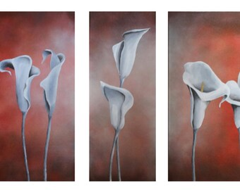 Painting on canvas , modern art , flowers , original painting on canvas , composition , triptych, wall art
