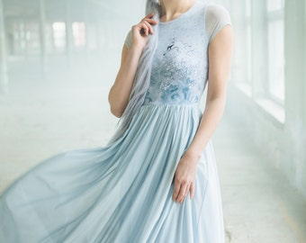 Forest swan - tulle maxi dress