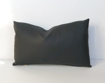 Faux Leather Pillow Cover Black 14 x 24, 12x 18, 16 x 16 Square, Lumbar, Many Sizes