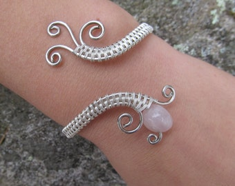 Rose Quartz Triple Spiral Sterling Silver Bracelet- Pink Gemstone Wire Wrapped Cuff Bracelet- Handmade Gemstone Goddess Wedding Jewelry