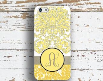 Damask phone case, Monogram Pretty Womens Floral Gift for Her, Fits iPhone 4/4s 5/5s 6/6s 7 8 5c SE X and Plus Gray yellow damask (9644)