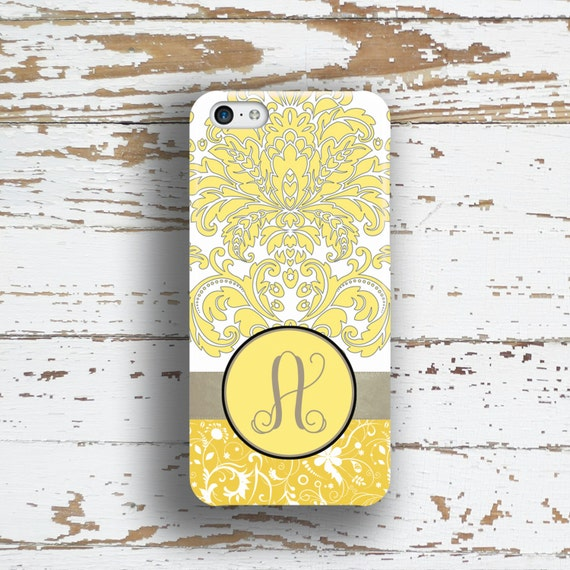 Damask iPhone 6 case, Monogram Iphone 5 case, Pretty Iphone 6s case, Womens iPhone 5c case, Floral Gift for Her, Gray yellow damask (9644)