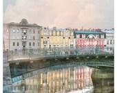 Large wall art print, St Petersburg photography, European city architecture, oversized art poster, water reflection, 24x24 art, 24x30 print