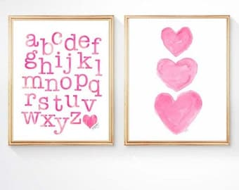 Hot Pink Nursery Decor, Alphabet Art, ABC Print, Pink ABC Art, Pink Nursery Set of 2 - 8x10, Heart Art, Playroom Decor, Hot Pink Kids Decor,