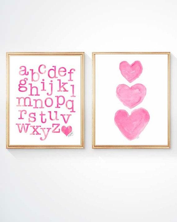 Hot Pink Playroom Prints, Set of 2 - 8x10, ABC and Heart