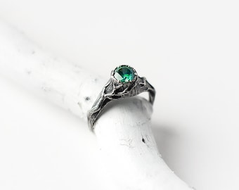 Emerald Ring, Witch Jewelry, Emerald Engagement Ring, Sterling Silver, Green Gemstone, Tree Stump with Branches, Forest, Tree Bark, Twigs