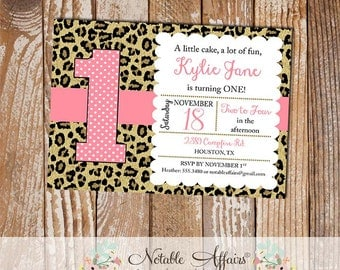 Leopard Print Invitation - Girl Leopard Cheetah Print Birthday invitation - any age - choose your own wording - pink color can be changed