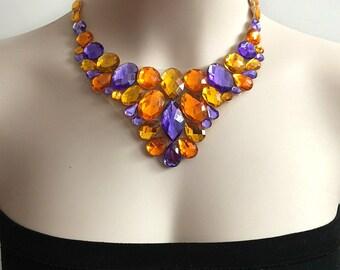 purple light topaz and oragne color rhinestone tulle bib necklace