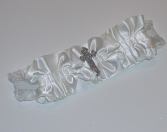 CHRISTENING HEADBAND,Cross Headband, Communion Headband, Baby Headband, White  Headband, White Ruffly Headband, Baby Christening Headband