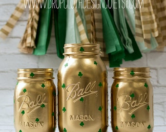 Shamrock Painted Mason Jars for St. Patrick's Day