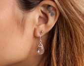 Clear Quartz Teardrop Ear...