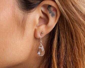Quartz Earrings-Quartz Teardrop Earrings-Crystal Earrings-Crystal Teardrop Earrings-Clear Quartz Earrings-Clear Earrings-Clear Teardrops