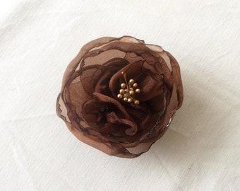 Womens Accessories Hair Flower Chocolate Brown Organza Flower Hair Clip Fall Winter Hair Accessories Woodland Flower Crown