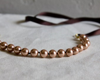 Pearl necklace, Ribbon necklace, Rose Gold, Ribbon tie, Rose Gold Pearl, Chocolate Brown Ribbon, Bridesmaid, Bridal Party, Bridesmaid Gift