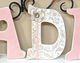 Custom Nursery Letters, Girl Nursery, Baby Name, Personalized, Wooden Wall Letters, Hanging Letters, Girl Room Decor