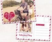 VALENTINE'S DAY 5x7 Photo Card PSD Template, Valentine Photo Card Template