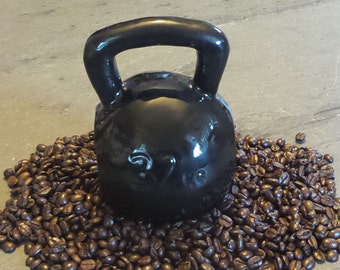 Ceramic Black Kettlebell Coffee Mug 16 or 24 oz ~ Handmade In USA