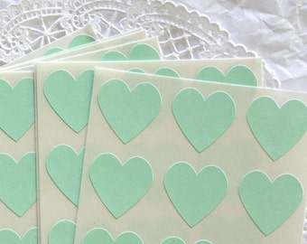 Large COOL MINT Heart Stickers, Sticker Seals, 6 COLORS