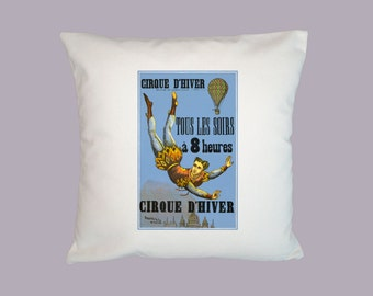 Vintage Cirque D'Hiver French Circus Poster HANDMADE 16x16 Pillow Cover - Choice of Fabric