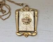 Antique Locket Necklace, Double Door Locket, Gold filled 1930s locket, antique wedding locket, unique locket, Look how it opens!