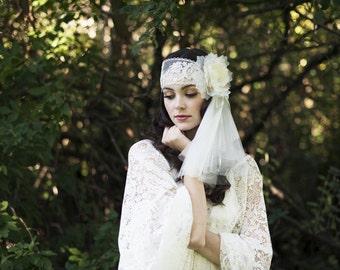 Silk Lace Juliet Bandeau Veil, Flower Headpiece, Floral Headband, Ivory Wedding Veil, Lace Headband Veil, Silk Wedding Veil, HATTIE
