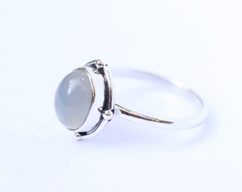 Simple Moonstone Ring, Sterling Silver Rings, Jewelry, Bohemian, Moonstone Jewelry, Moonstone Ring, Gemstone Ring, Gypsy Ring, Boho Ring,