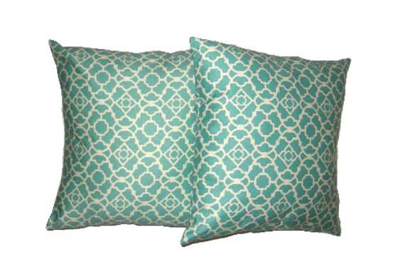 20 Inch Throw Pillow Covers : Throw Pillow Cover 20 x 20 inch Turquoise by NellieBlyHomeDecor