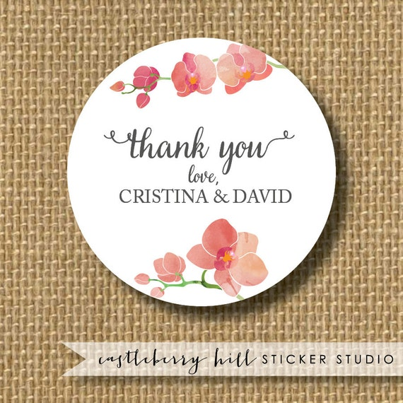 Orchid stickers orchid wedding favor tropical by for Stickers for wedding favors