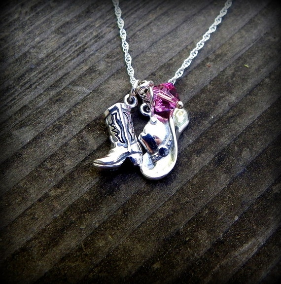 Sterling sliver cowboy boot and hat necklace, cowgirl necklace, western necklace