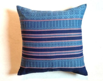 "BLUE Cambodian Pillow Cover - 23""x23"" inch white linen back, Blue traditional pillow, indie pillowcase, Bohemian pillow, Boho pillow"