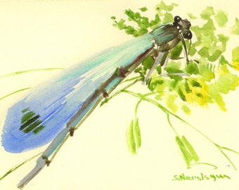 Dragonfly Painting, light blue yellow watercolor art, original small painting 7 X 5 in