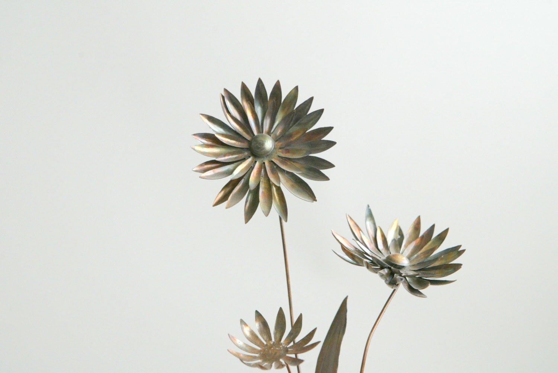 Brutalist Dahlia Flowers Sculpture on Black Lucite Base