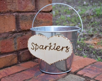Wedding Sparklers Bucket - Rustic Wedding - Large Sparkler Bucket - Program Bucket - Sparklers Pail - Sparklers Basket