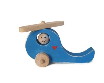 Wooden Helicopter Toy, Wood Helicopter, Toy Chopper