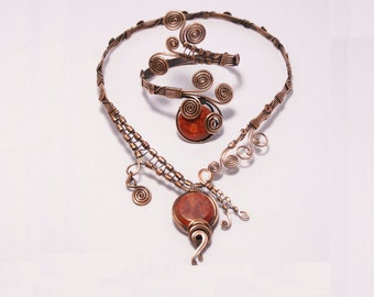 coral  jewelry set-copper jewelry set-coral bracelet-coral necklace- wire wrapped jewelry handmade