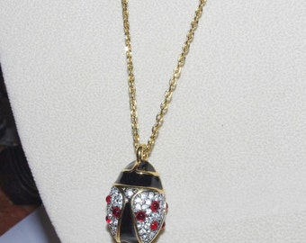 Joan Rivers Egg Necklace - Ladybug Pendant with Crystals                       - S909