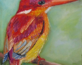 bird painting, kingfisher painting,  oil painting, wall hanging,nature art, fine art