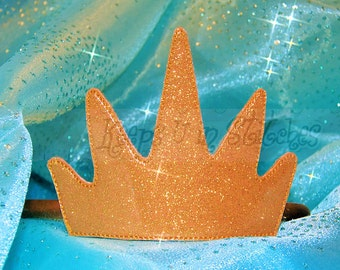 KUiS ~eXcLuSiVe~The Little Mermaid's URSULA the Sea Witch Inspired Small Size GOLD Smooth Glitter Vinyl Sparkly CROWN Headband - KiNG TRiTON