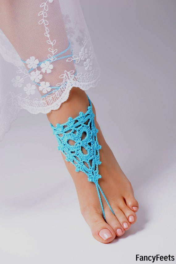Crochet Aqua Barefoot Sandals Foot jewelry Bridesmaid