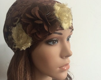 Brown Flowers Head Cover, S-0019, Tichel, Snood, Pre Tied Headwear, Jewish Head Scarf, Headscarves, Hair Covering, Tichel, Sigal Shleifer