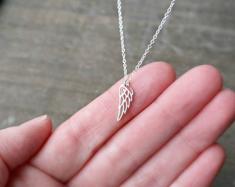 Tiny Angel Wing Necklace / Small Silver Wing Pendant on a Sterling Silver Chain ... Options to Personalize