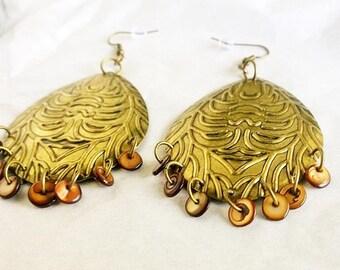 Large Golden Tribal Chandelier Earrings