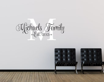 Family Name Wall Decal - Family Monogram - Last Name Wall Decal - Family Established Date Vinyl Wall Decal - Family Decor Wall Decal