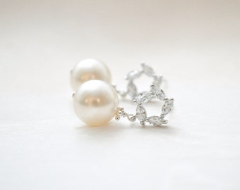 Bridal Earrings Pearl, Wedding Earrings Ivory Pearl, Crystal Pearl Earrings, Bridal Vintage Style