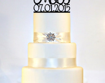 Wedding Cake Topper Monogram  personalized with YOUR First Initials & Wedding Date