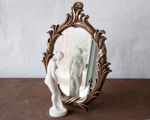 Vintage fancy mirror ornate gold vanity tray wall hanging for Fancy vanity mirror