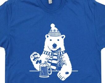 Polar Bear T Shirt Drinking Beer Tee Funny Vintage Alaska Bar Pub mens womens Shirts Cool Animal ...